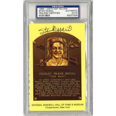 Stan Musial Autographed Hall of Fame Plaque Postcard (PSA-38)