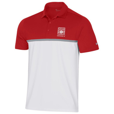 Men's Under Armour Baseball Hall of Fame Color Blocked Red and White Gameday Polo