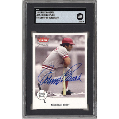 Johnny Bench Autographed Card 2002 Fleer Greats of the Game # 87 (SGC)