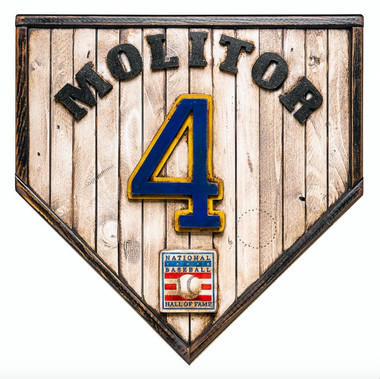 Paul Molitor Hall of Fame Vintage Distressed Wood 17 Inch Legacy Home Plate Ltd Ed of 250