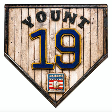 Robin Yount Hall of Fame Vintage Distressed Wood 17 Inch Legacy Home Plate Ltd Ed of 250