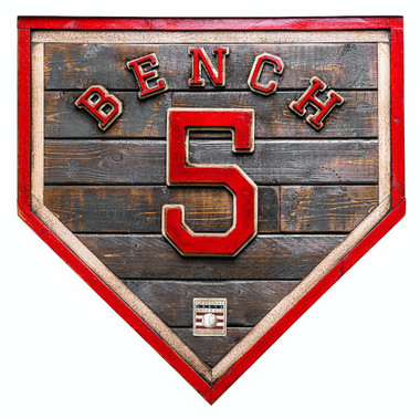 Johnny Bench Hall of Fame Vintage Distressed Wood 20 Inch Heritage Red Home Plate Ltd Ed of 50