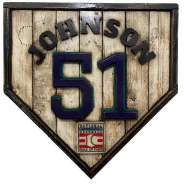 Randy Johnson Hall of Fame Vintage Distressed Wood 17 Inch Legacy Home Plate Ltd Ed of 250