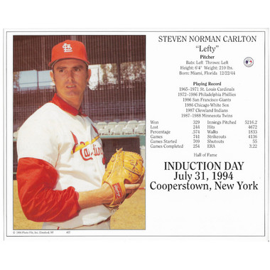Steve Carlton St. Louis Cardinals 1994 Hall of Fame Induction 8x10 Photocard