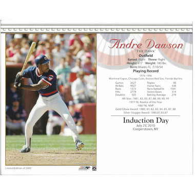 Andre Dawson Chicago Cubs 2010 Hall of Fame Induction 8x10 Photocard
