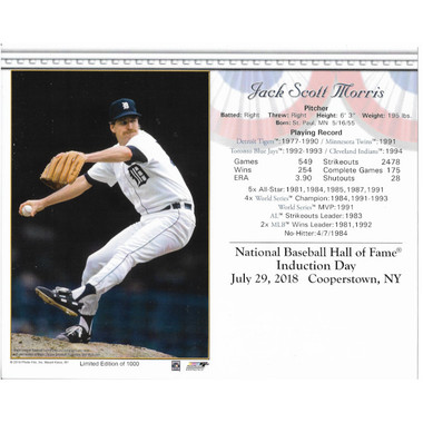 Jack Morris Detroit Tigers 2018 Hall of Fame Induction 8x10 Photocard
