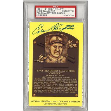 Enos Slaughter Autographed Hall of Fame Plaque Postcard (PSA-26)
