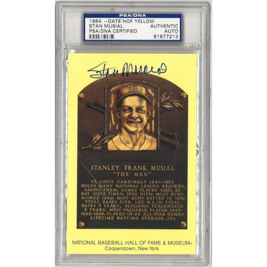 Stan Musial Autographed Hall of Fame Plaque Postcard (PSA-13)