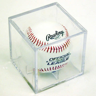 Saftgard Baseball Square Cube Holder Display Case with Stand
