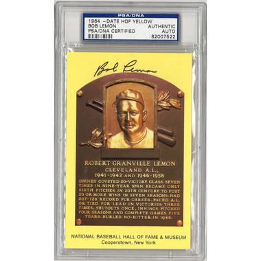 Bob Lemon Autographed Hall of Fame Plaque Postcard (PSA-22)
