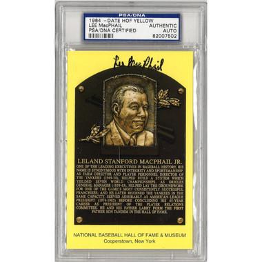 Lee MacPhail Jr. Autographed Hall of Fame Plaque Postcard (PSA-02)