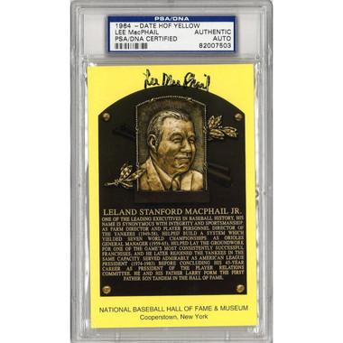 Lee MacPhail Jr. Autographed Hall of Fame Plaque Postcard (PSA-03)