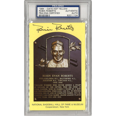 Robin Roberts Autographed Hall of Fame Plaque Postcard (PSA-34)