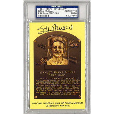 Stan Musial Autographed Hall of Fame Plaque Postcard (PSA-40)