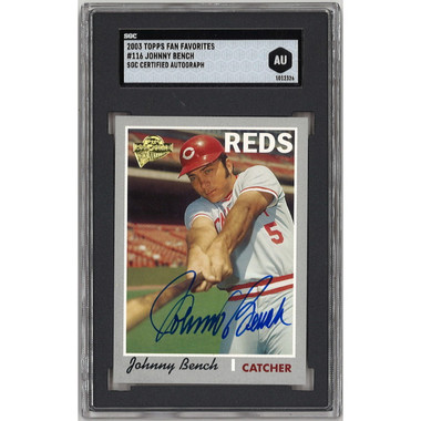 Johnny Bench Autographed Card 2003 Topps Archives Fan Favorites # 116 (SGC)