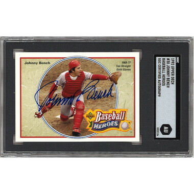 Johnny Bench Autographed Card 1992 Upper Deck Heroes # 38 (SGC)