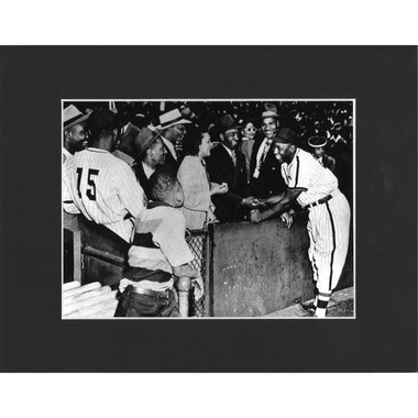 Matted 8x10 Photo- Josh Gibson with Fan