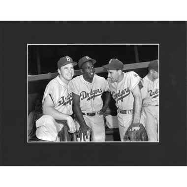 Matted 8x10 Photo- Pee Wee Reese, Jackie Robinson and Billy Cox