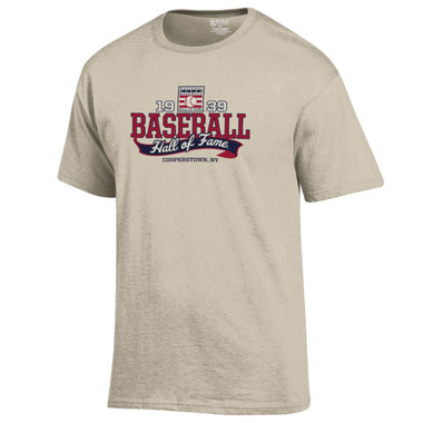 Men's Baseball Hall of Fame Oatmeal Heather 1939 Banner T-Shirt