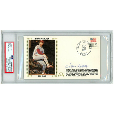 Steve Carlton Autographed First Day Cover - 1983 300th Win (PSA)