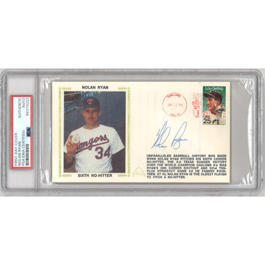 Nolan Ryan Autographed First Day Cover - 1990 Sixth No Hitter (PSA)