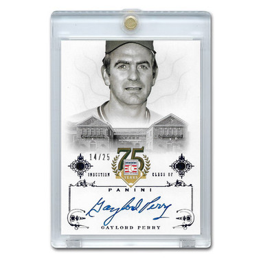 Gaylord Perry Autographed Card 2014 Panini Cooperstown HOF 75th Anniversary Blue # 82 Ltd Ed of 25