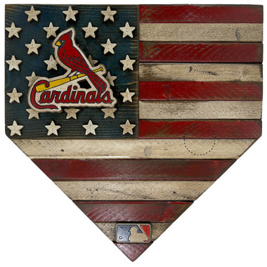 St. Louis Cardinals Vintage Distressed Wood Handmade 17 Inch Home Plate Flag