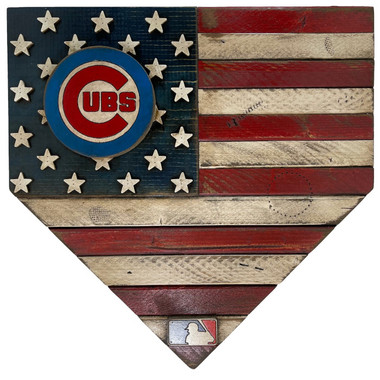 Chicago Cubs Vintage Distressed Wood Handmade 17 Inch Home Plate Flag