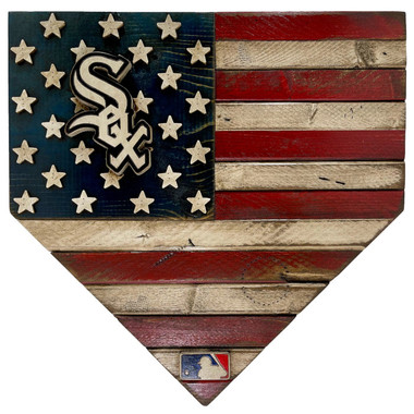 Chicago White Sox Distressed Wood Handmade 17 Inch Home Plate Flag