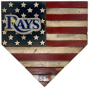 Tampa Bay Rays Distressed Wood Handmade 17 Inch Home Plate Flag