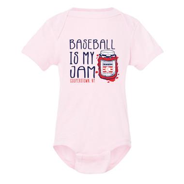 Infant/Toddler Baseball Is My Jam Hall of Fame Logo Pink Onesie