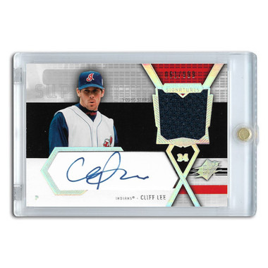 Cliff Lee Autographed Card 2004 Upper Deck SPx Swatch Supremacy Ltd Ed of 999