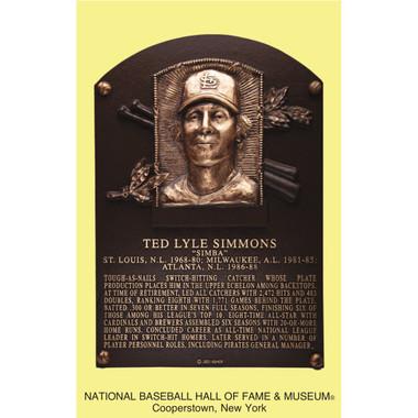 Ted Simmons Baseball Hall of Fame Plaque Postcard
