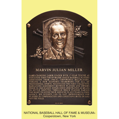 Marvin Miller Baseball Hall of Fame Plaque Postcard