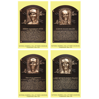 Class of 2020 Baseball Hall of Fame Plaque Postcard Set of 4 (Jeter, Miller, Simmons, Walker)