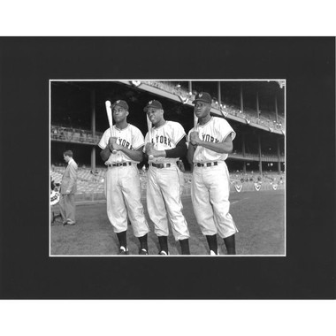 Matted 8x10 Photo- Monte Irvin, Willie Mays and Hank Thompson