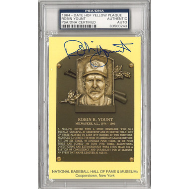 Robin Yount Autographed Hall of Fame Plaque Postcard (PSA-43)
