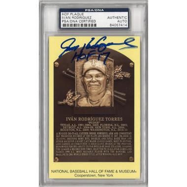 Ivan Rodriguez Autographed Hall of Fame Plaque Postcard (PSA-14)