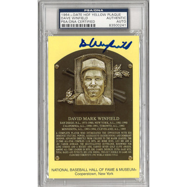 Dave Winfield Autographed Hall of Fame Plaque Postcard (PSA-41)