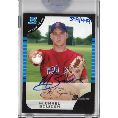 Michael Bowden Autographed Card 2006 Bowman Originals Buyback # 631 Ltd Ed of 449