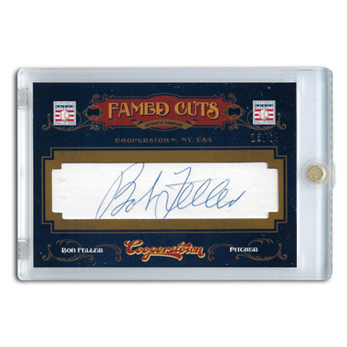 Bob Feller Autographed Card 2012 Panini Cooperstown Famed Cuts Ltd Ed of 13