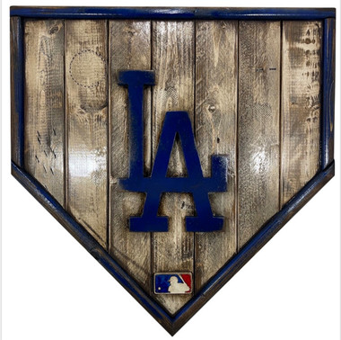 Los Angeles Dodgers Distressed Wood Handmade 17 Inch Legacy Home Plate