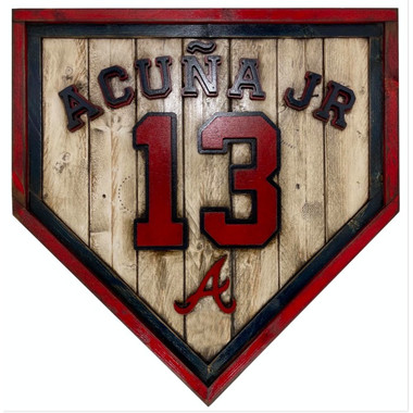 Ronald Acuna Atlanta Braves Vintage Distressed Wood 20 Inch Heritage Red Home Plate