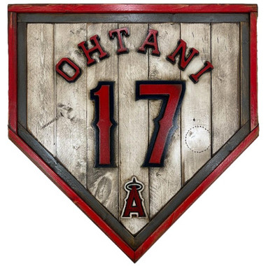 Shohei Ohtani Los Angeles Angels Vintage Distressed Wood 20 Inch Heritage Natural Home Plate