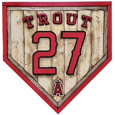 Mike Trout Los Angeles Angels Vintage Distressed Wood 20 Inch Heritage Natural Home Plate