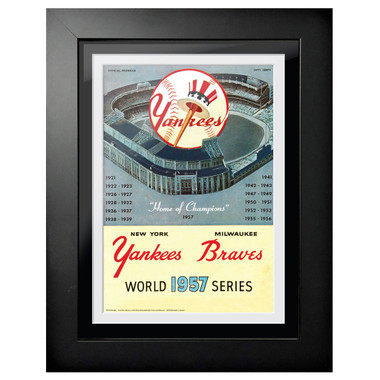 1957 World Series Program Cover 18 x 14 Framed Print
