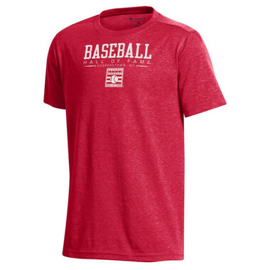 Champion Youth Field Day Baseball Hall of Fame Logo Scarlet Red T-Shirt