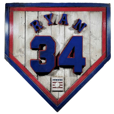 Nolan Ryan Hall of Fame Vintage Distressed Wood 20 Inch Heritage Natural Home Plate