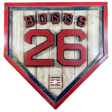 Wade Boggs Hall of Fame Vintage Distressed Wood 20 Inch Heritage Natural Home Plate