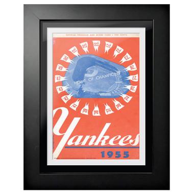 New York Yankees 1955 Scorecard Cover 18 x 14 Framed Print